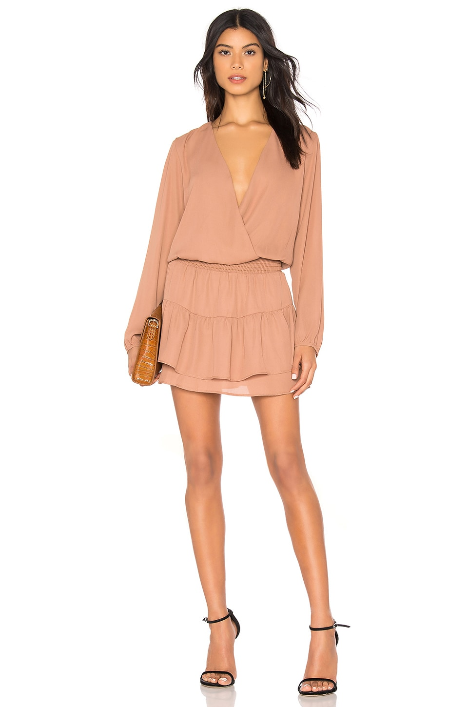 KRISA Smocked Surplice Mini Dress in Tan