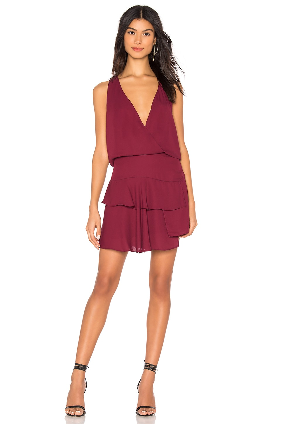 KRISA Layered Skirt Mini Dress in Burgundy