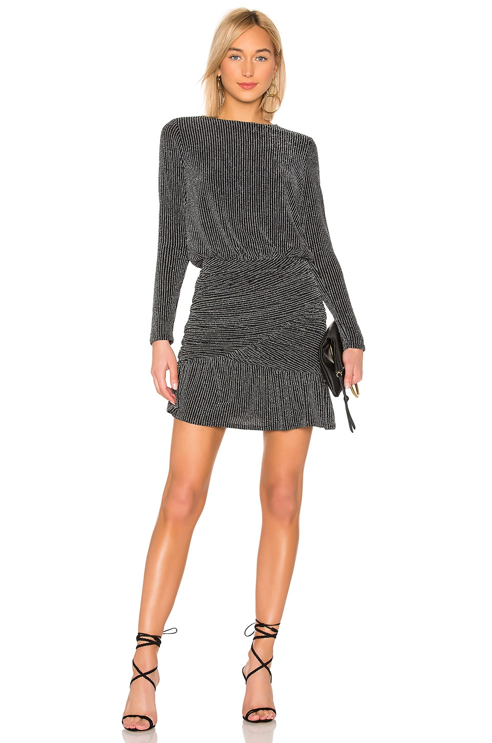 krisa Drape Skirt Long Sleeve Mini Dress in Glam
