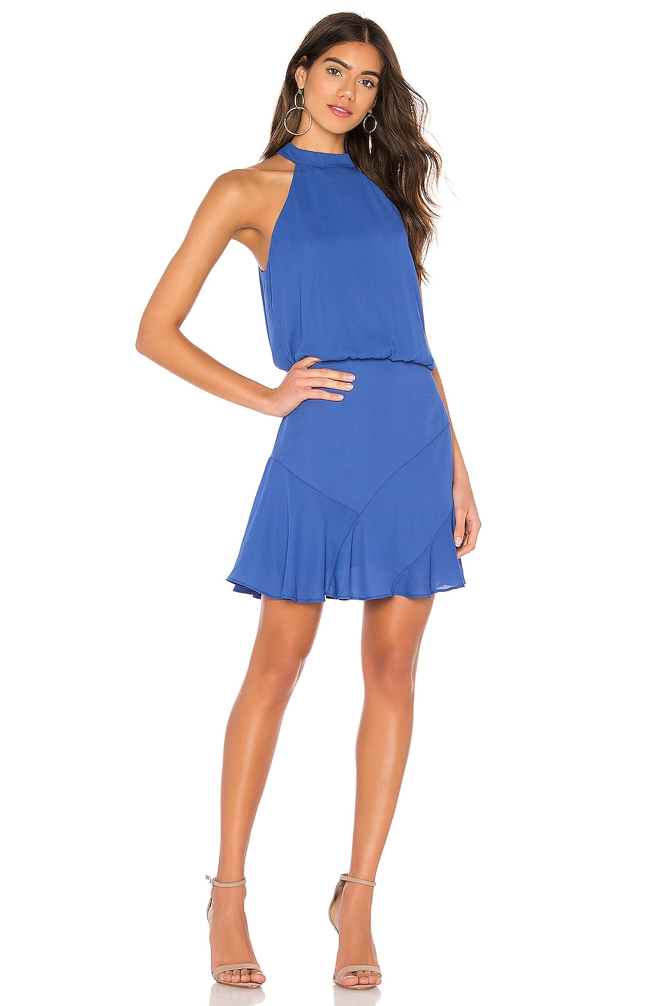 krisa Asymmetrical Flare Mini Halter Dress in Vista