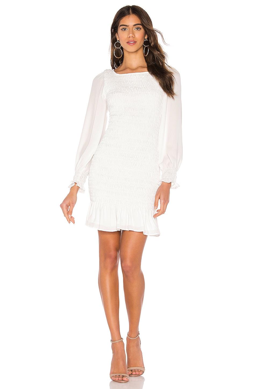 krisa Smocked Mini Dress in White