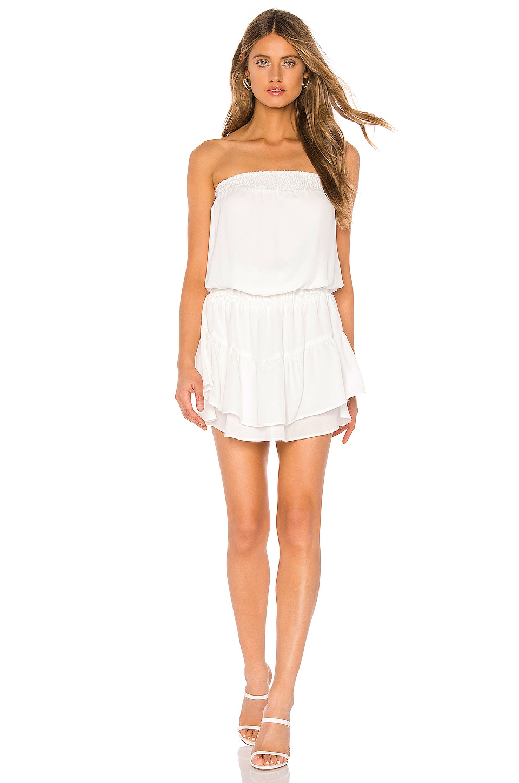 krisa Smocked Strapless Mini Dress in White