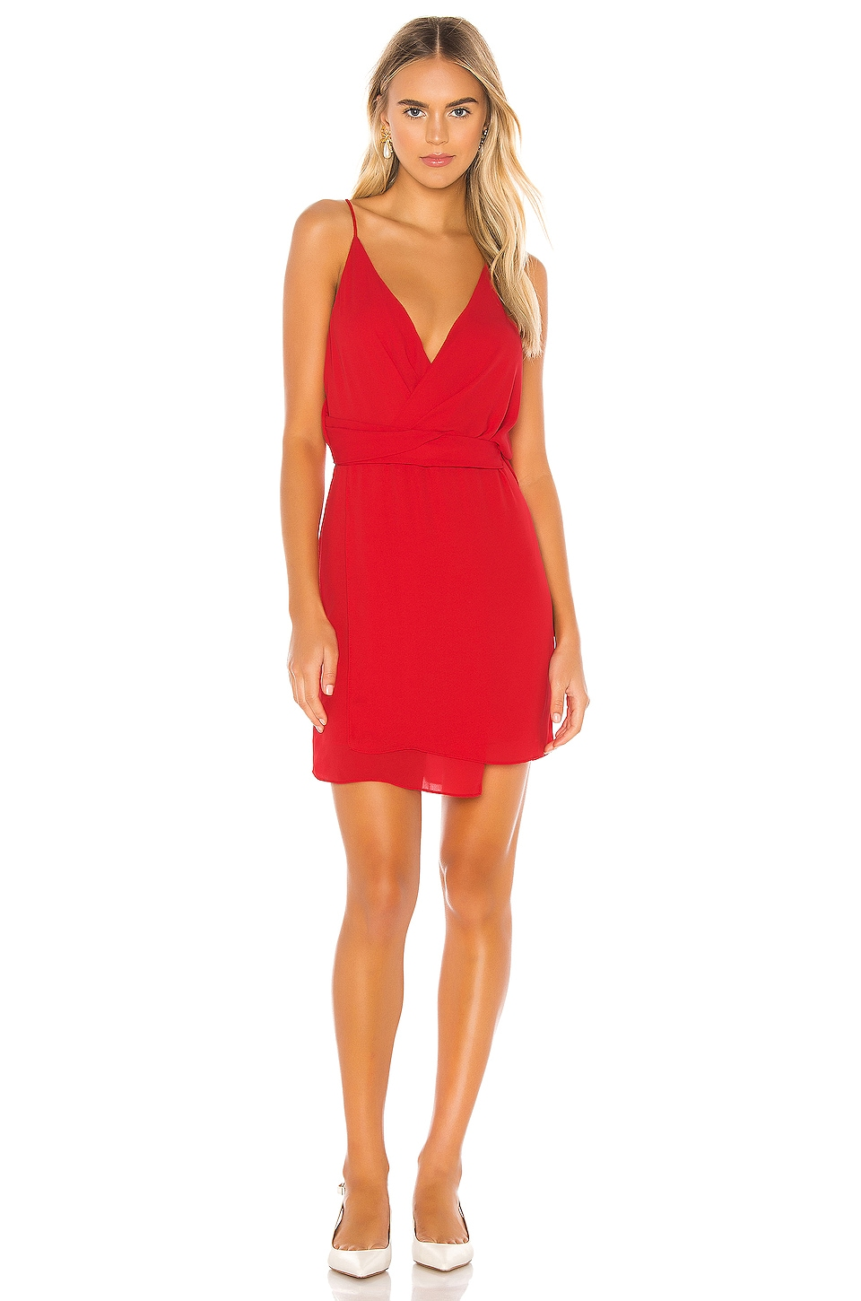 krisa Twist Waist Surplice Mini Dress in Starlet