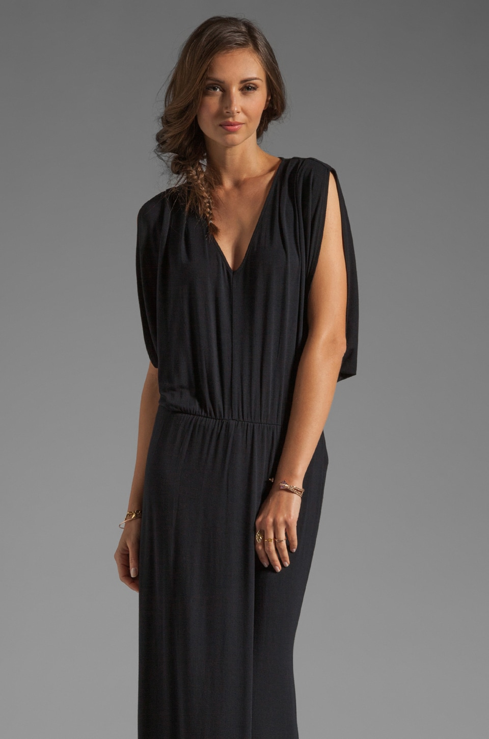 krisa Drape Sleeve Maxi in Black