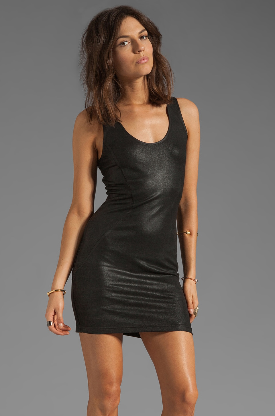 krisa Coated Dress in Black