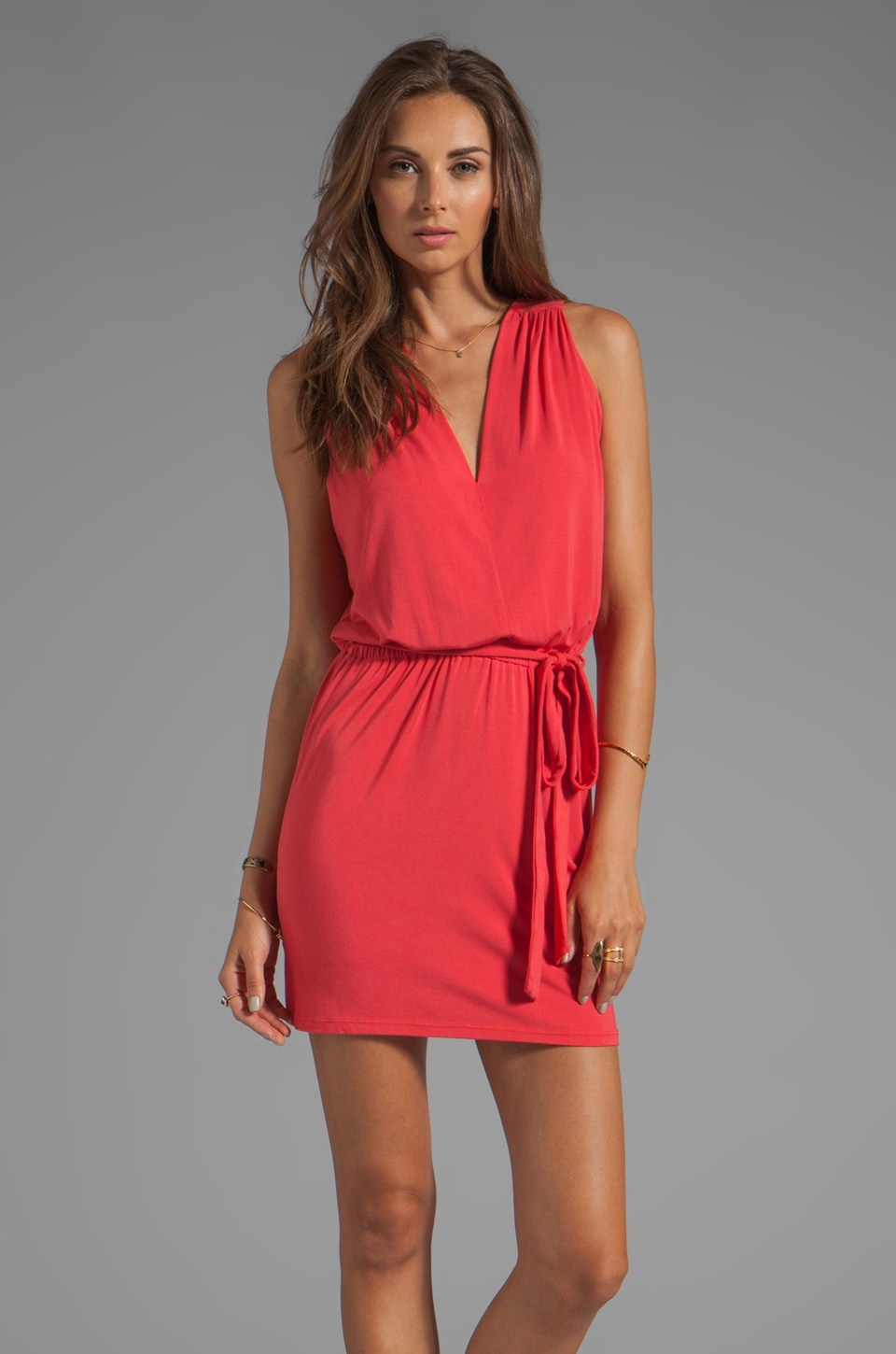 krisa Reverse Surplice Back Mini Dress in Fire