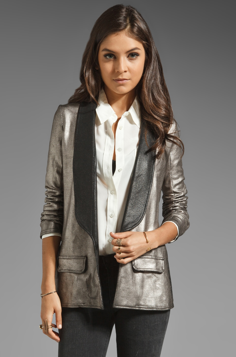 krisa Coated Blazer in Foil