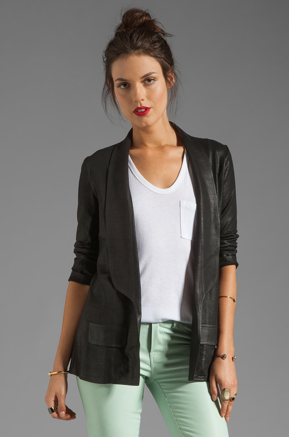 krisa 3/4 Sleeve Coated Blazer in Black