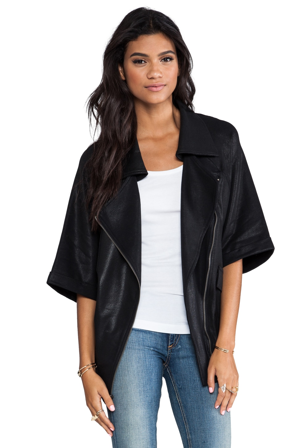 krisa Coated Oversized Short Sleeve Moto Jacket in Black