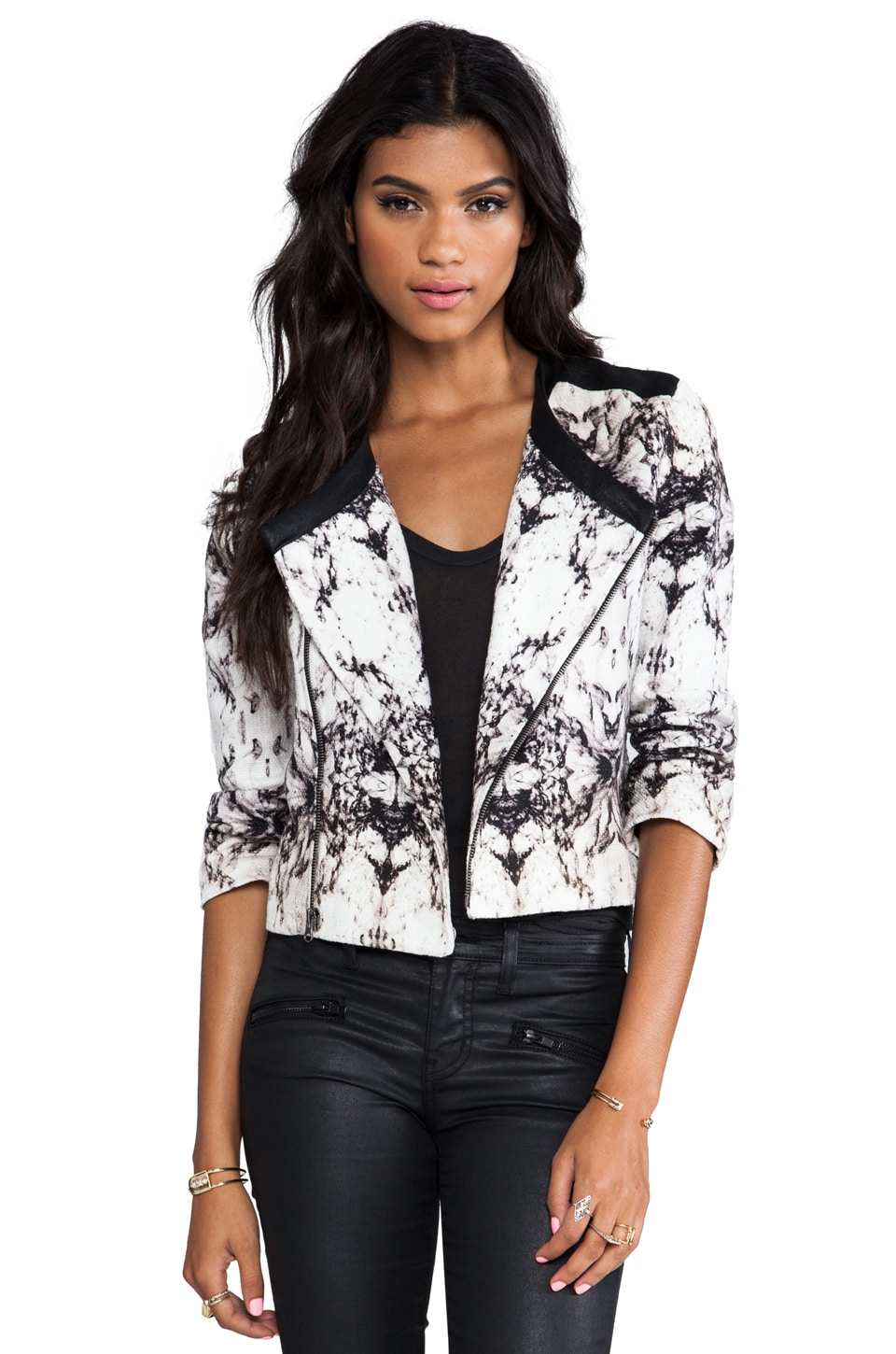 krisa Printed Canvas Little Jacket in Marais