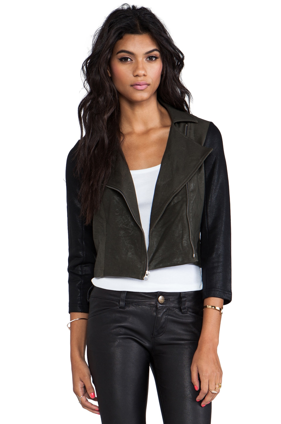 krisa Coated Shrunken Moto Jacket in Olive/Black
