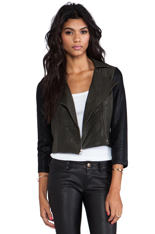 krisa Coated Shrunken Moto Jacket in Olive/Black