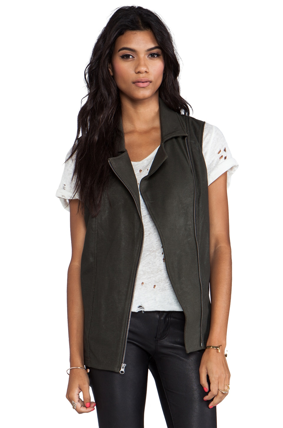 krisa Coated Tunic Moto Vest in Olive