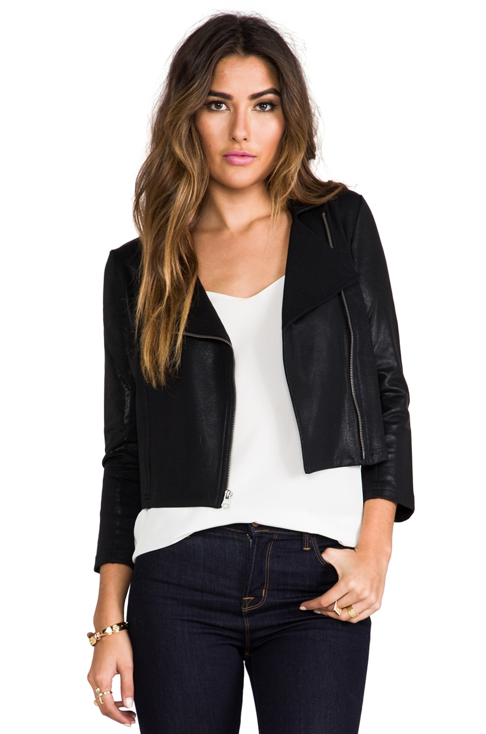 krisa Shrunken Moto Jacket in Black