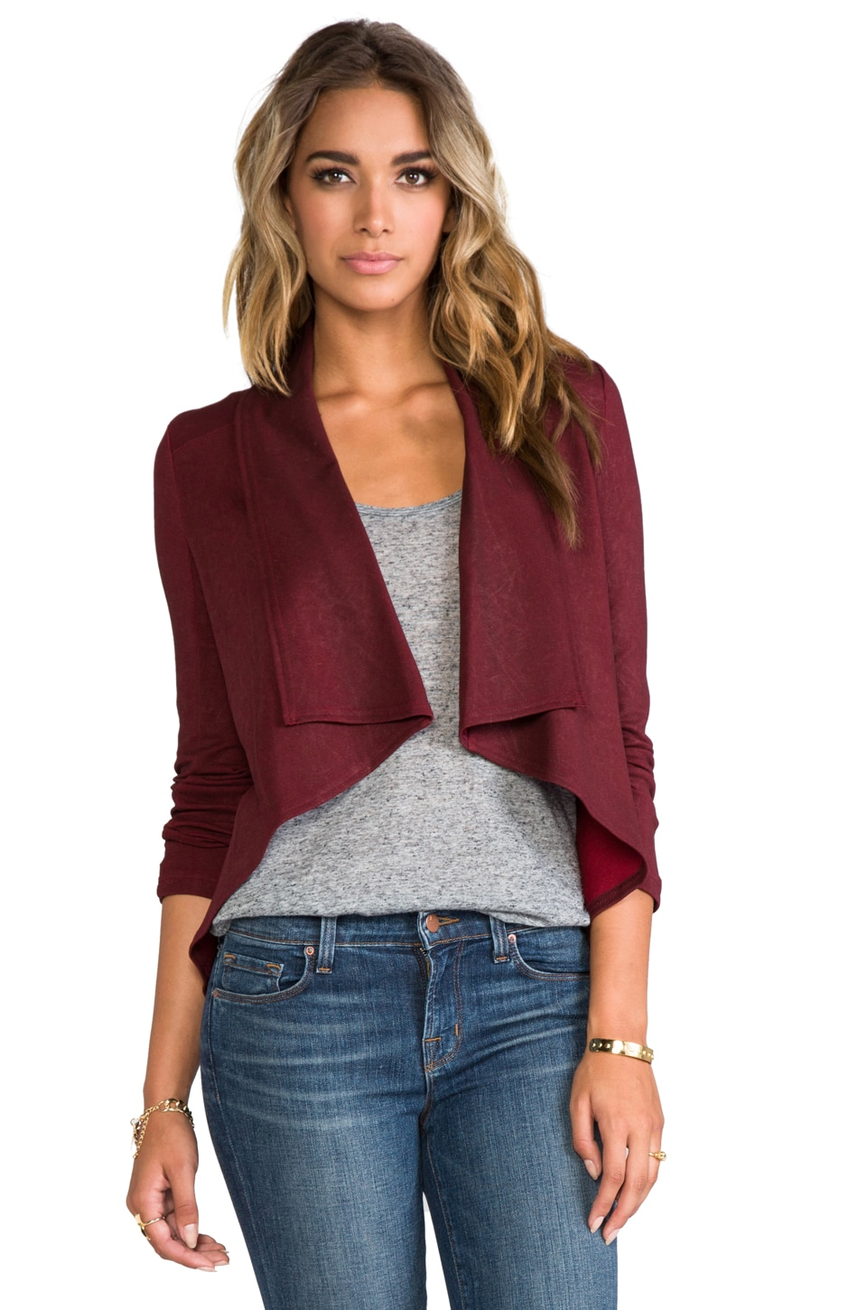 krisa Coated Drape Jacket in Burgundy