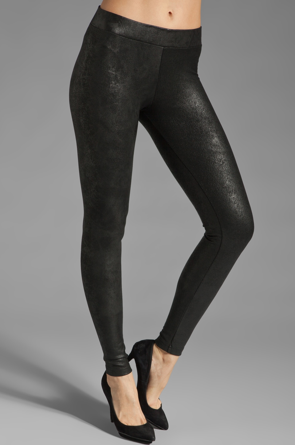 krisa Crushed Coated Legging in Black