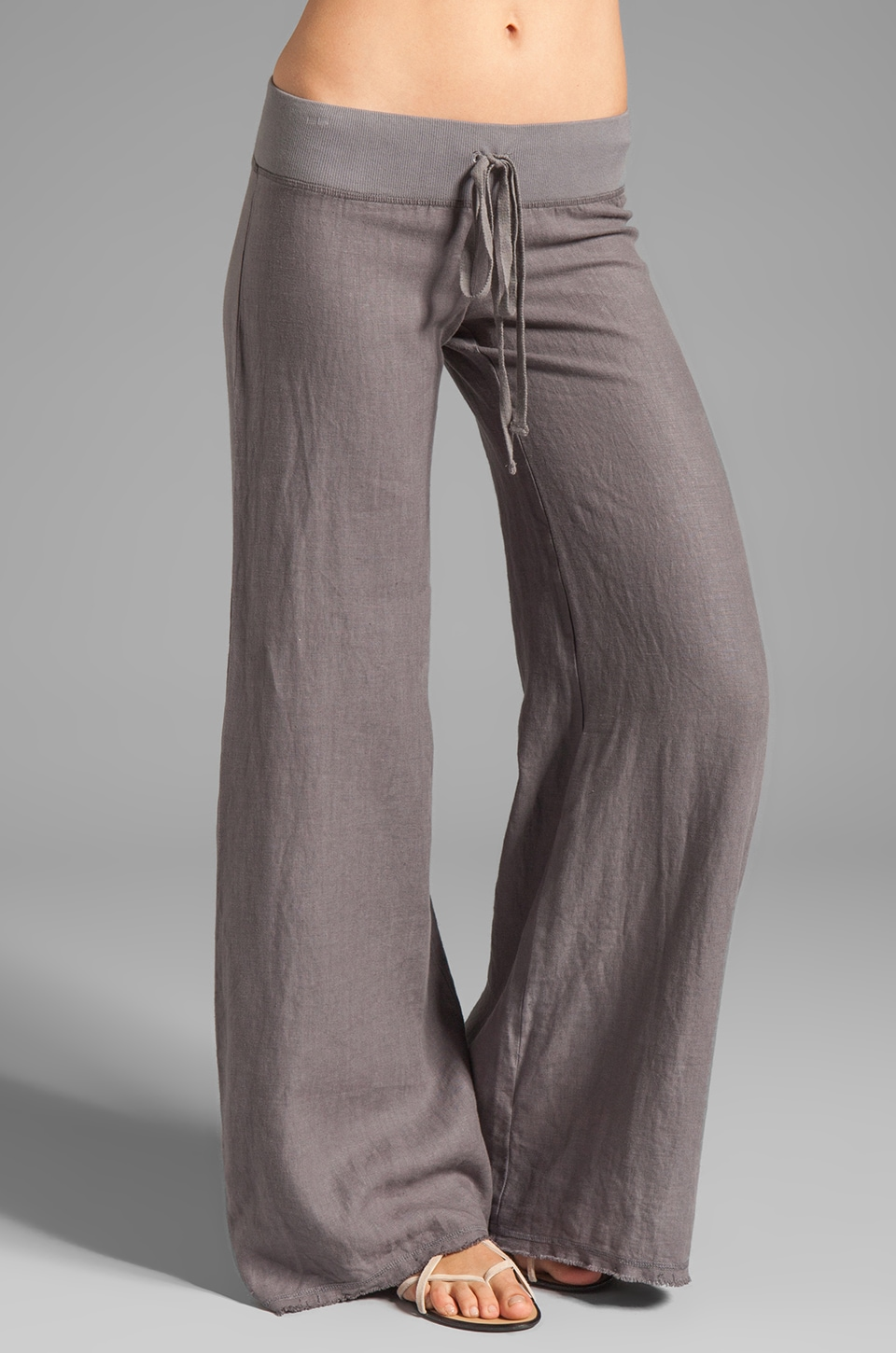 krisa Wide Leg Linen Pant in Carbon