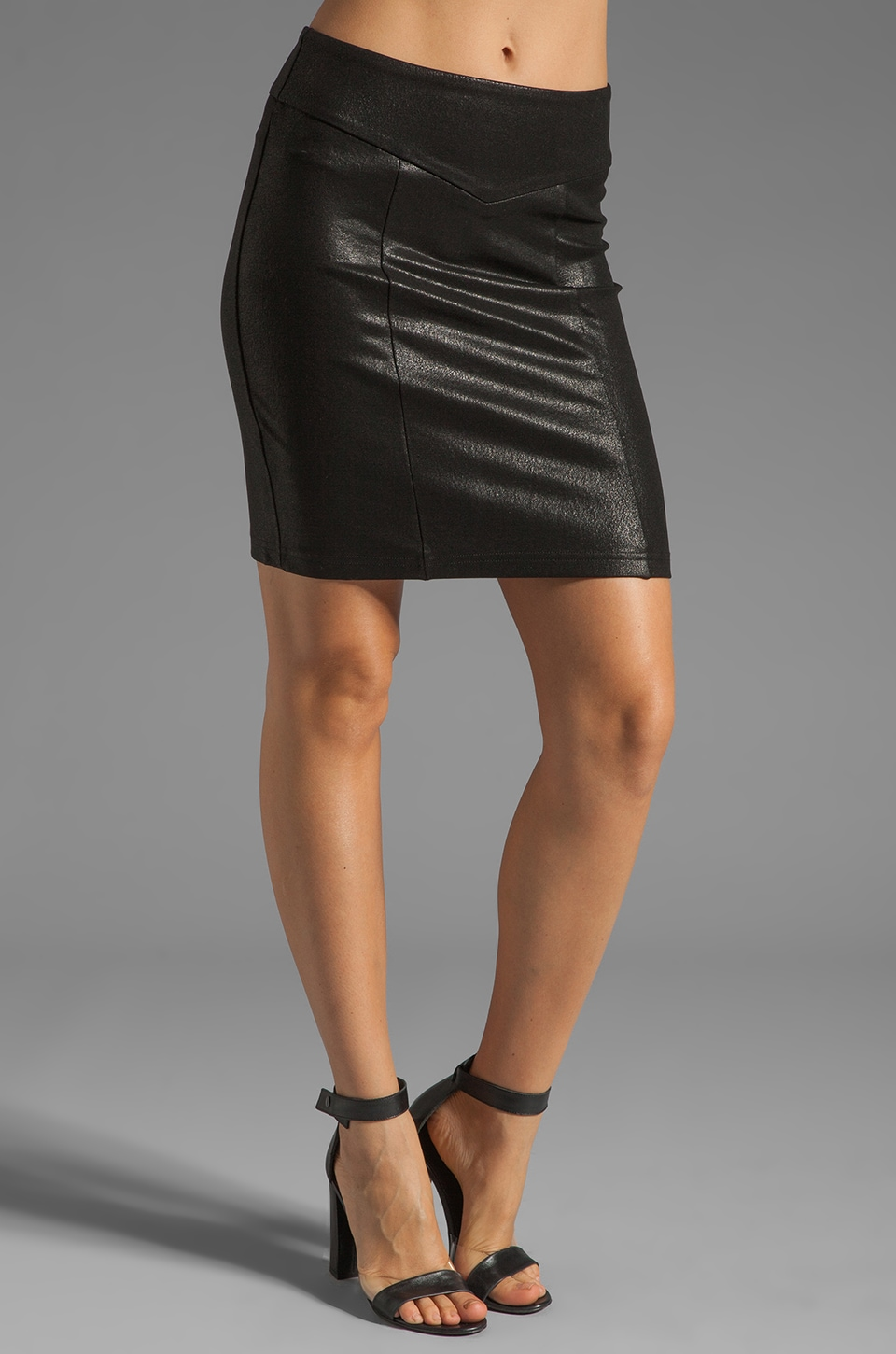 krisa Coated Pencil Skirt in Black