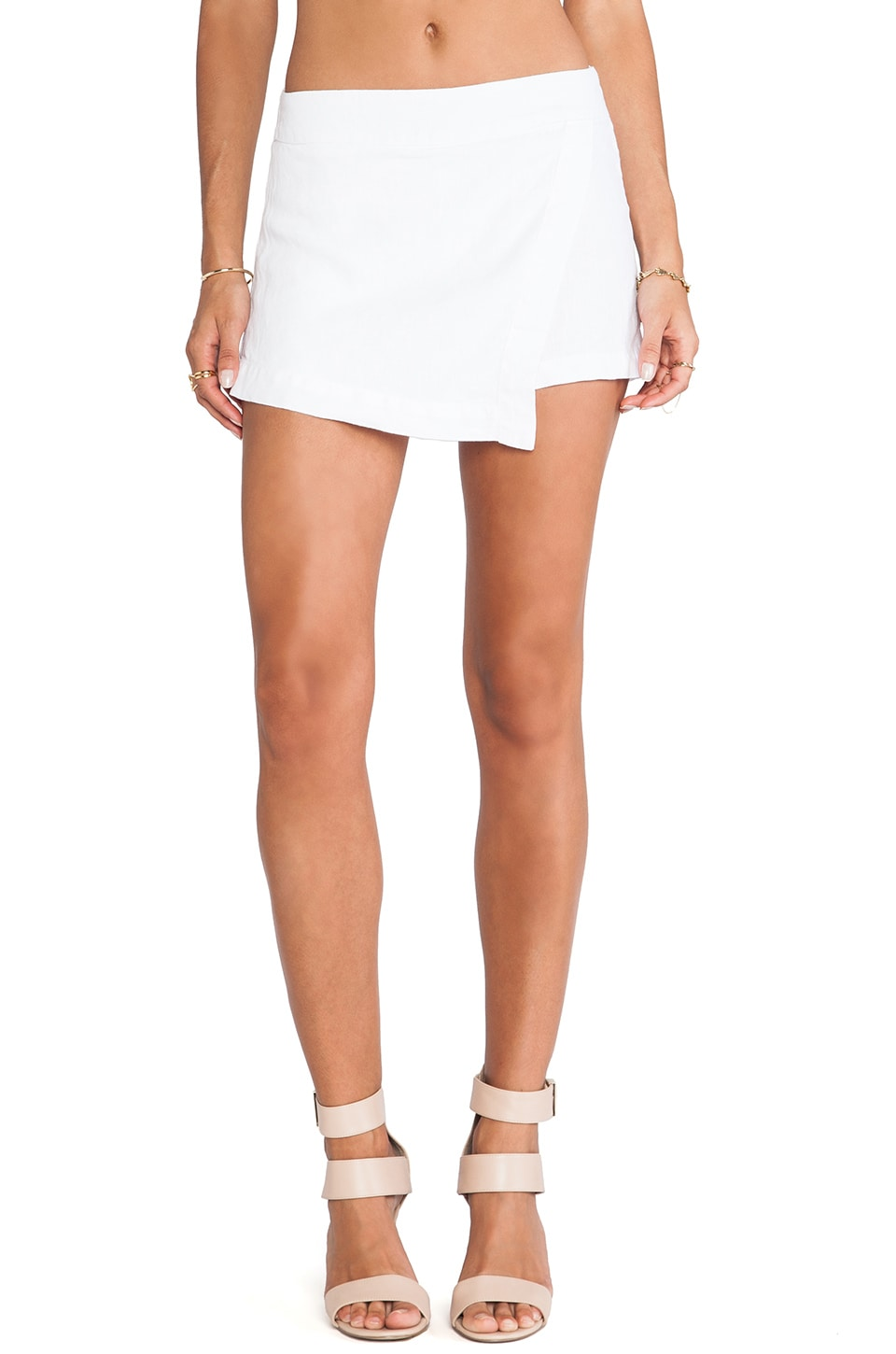 krisa Asymmetrical Skort in White