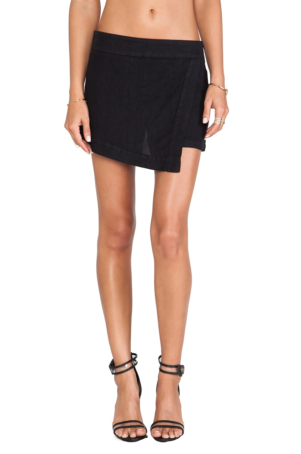 krisa Asymmetrical Skort in Black