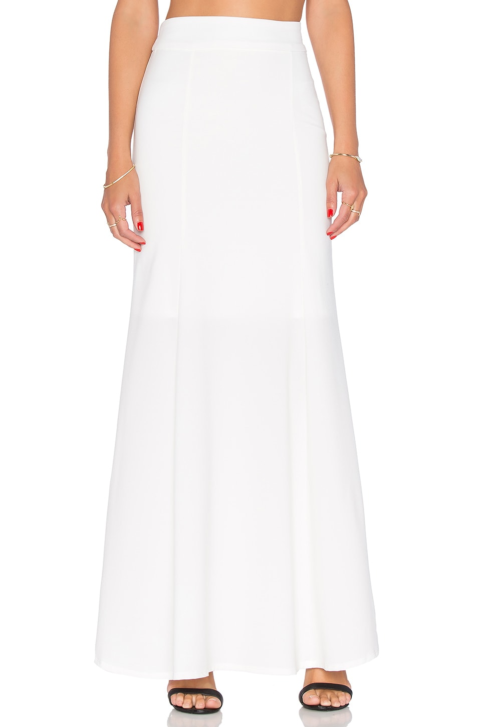 krisa Fit & Flare Maxi Skirt in Ivory