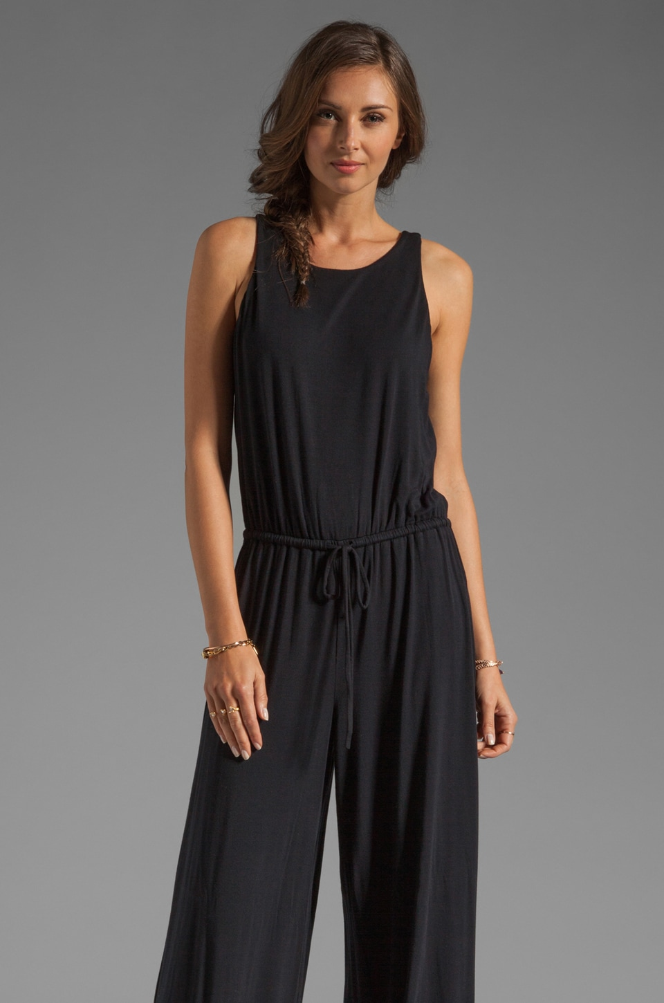 krisa Open Back Jumpsuit in Black
