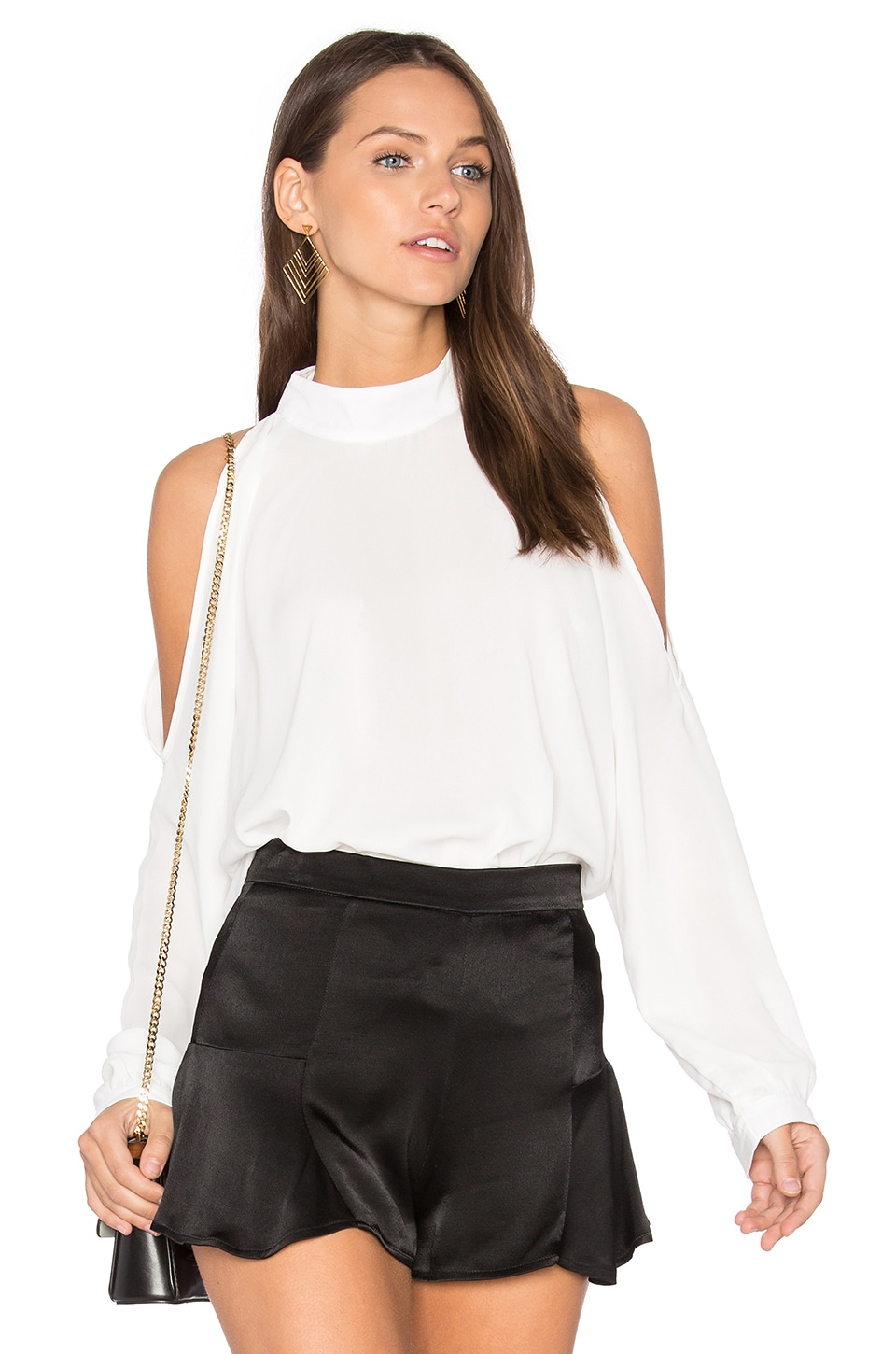 Cold Shoulder Turtleneck Top by krisa
