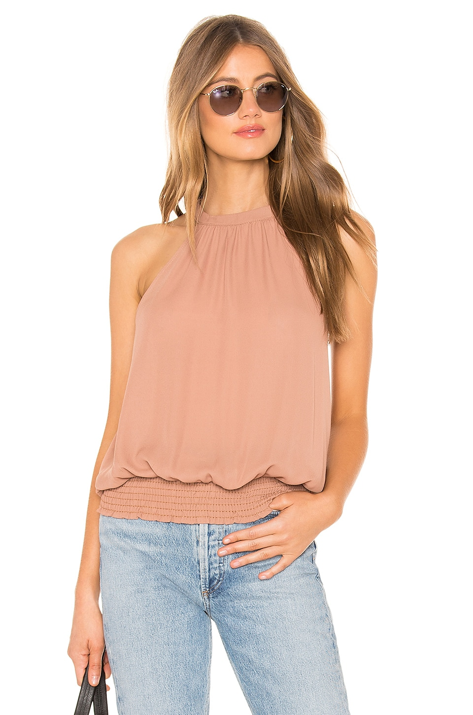 KRISA Smocked Hem Halter Top in Beige
