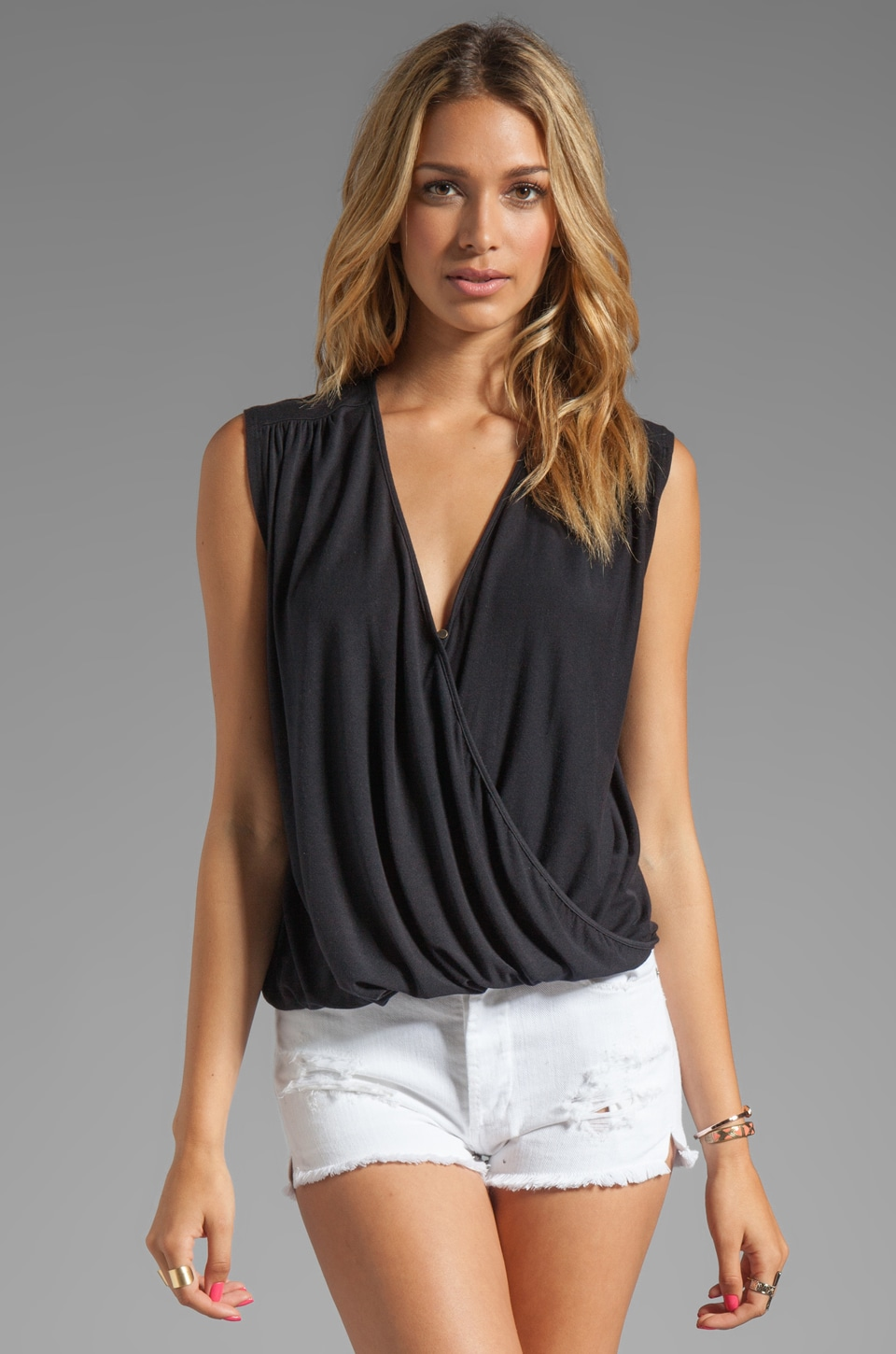 krisa Surplice Draped Tank in Black