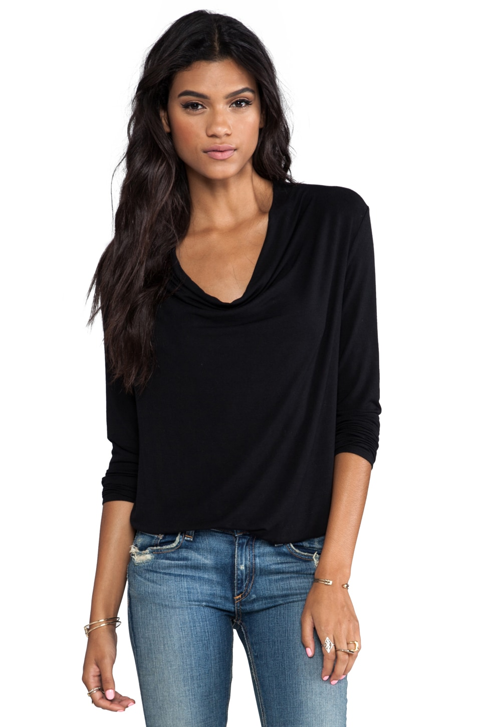 krisa Drape Long Sleeve Top in Black