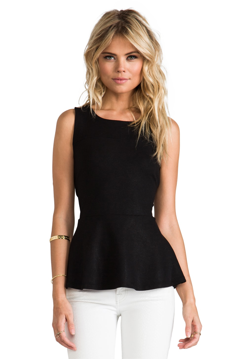 krisa Coated Peplum Top in Black