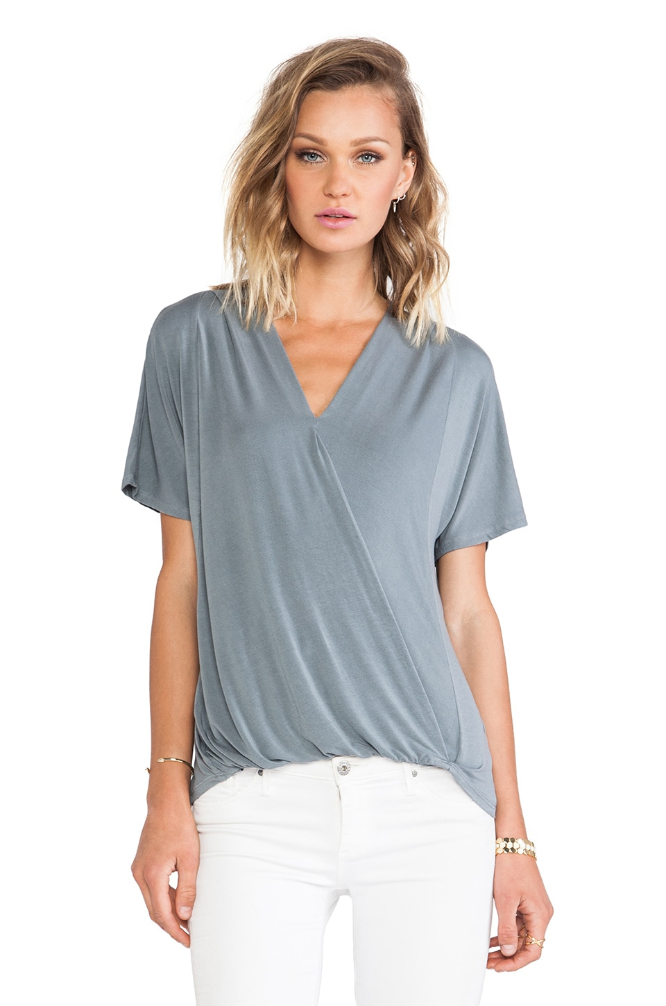 krisa Surplice Short Sleeve Tee in Moss