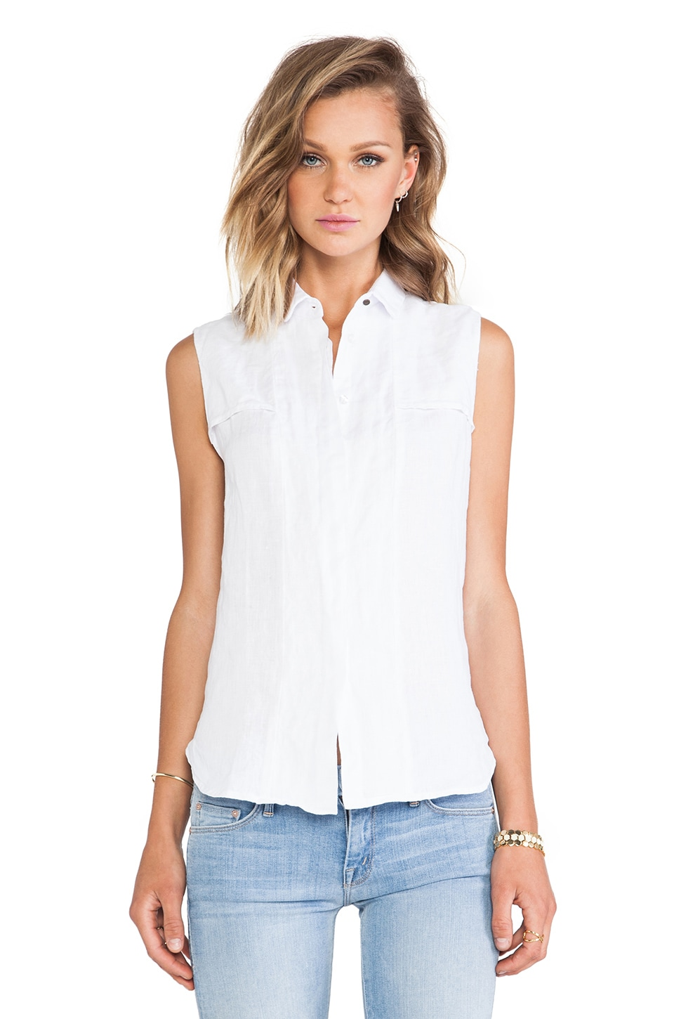 krisa Sleeveless Safari Button Front Tank in White