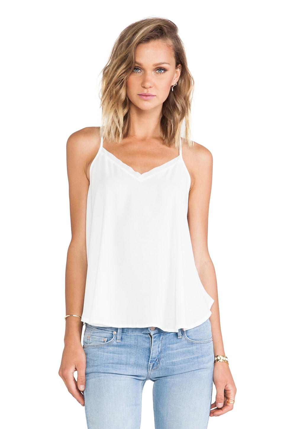 krisa Swing Cami Tank in Ivory