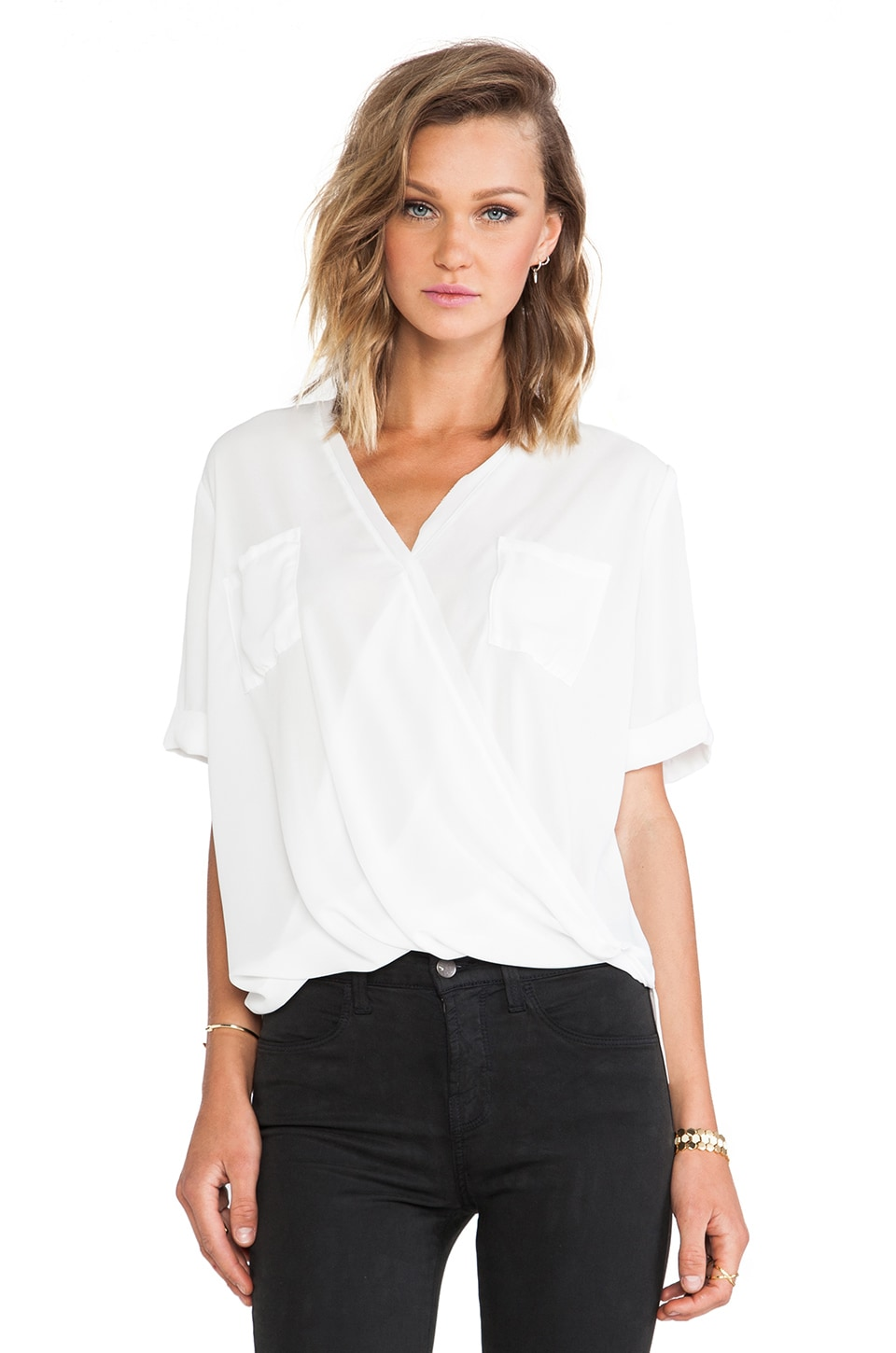 krisa Pocket Surplice Tee in Ivory