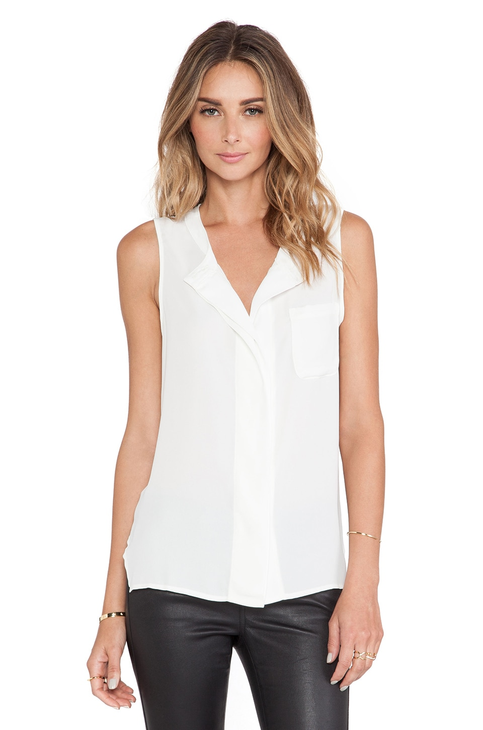krisa Pocket Boyfriend Sleeveless Top in Ivory