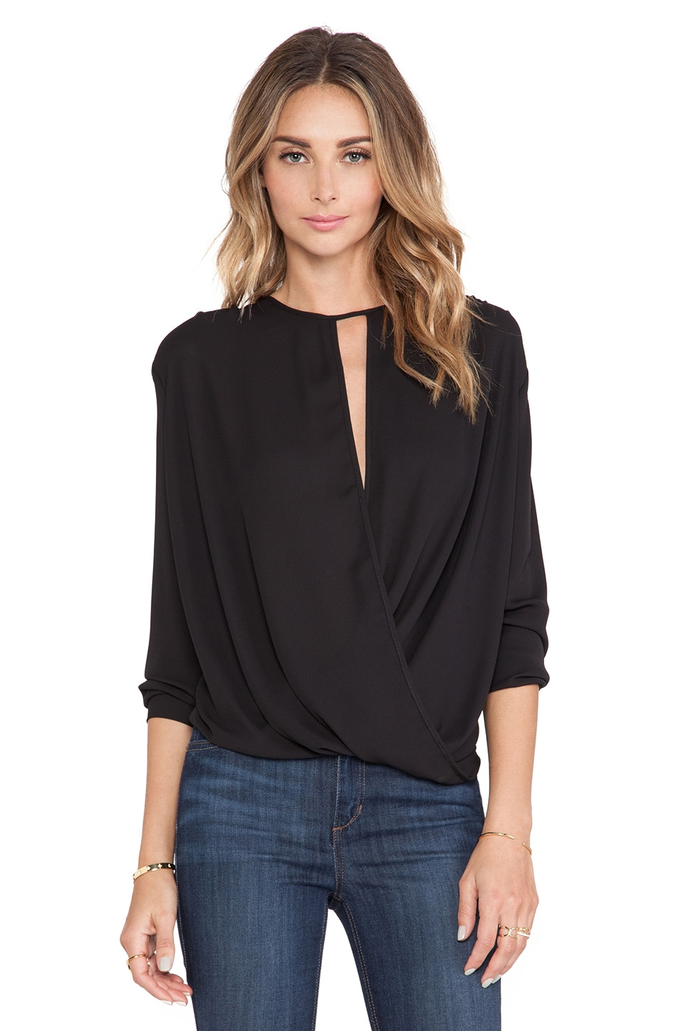 krisa Surplice Long Sleeve Top in Black