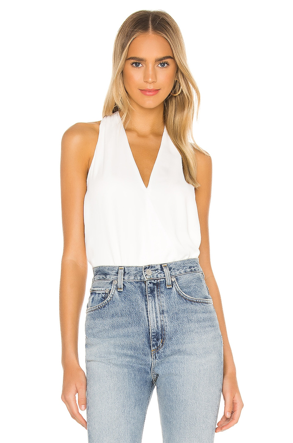 krisa Surplice Tank in White