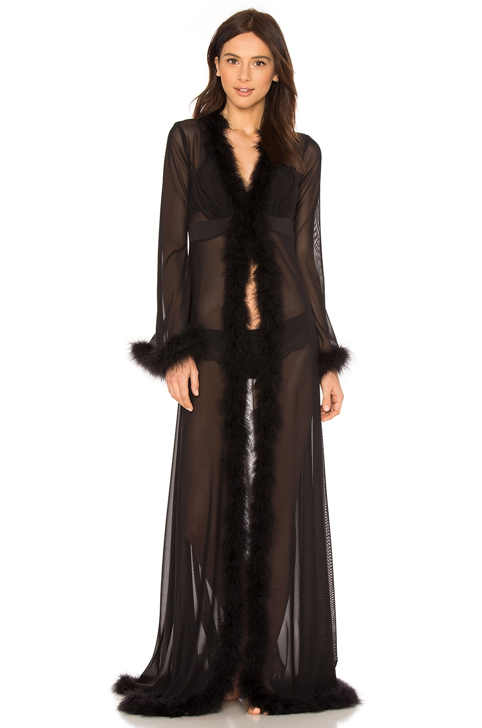 KISSKILL Glam Feather Robe in Black