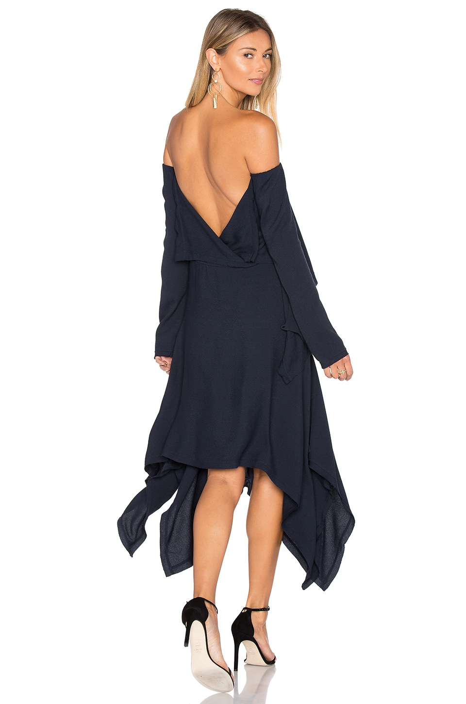 KITX Off Shoulder Backless Dress in Midnight