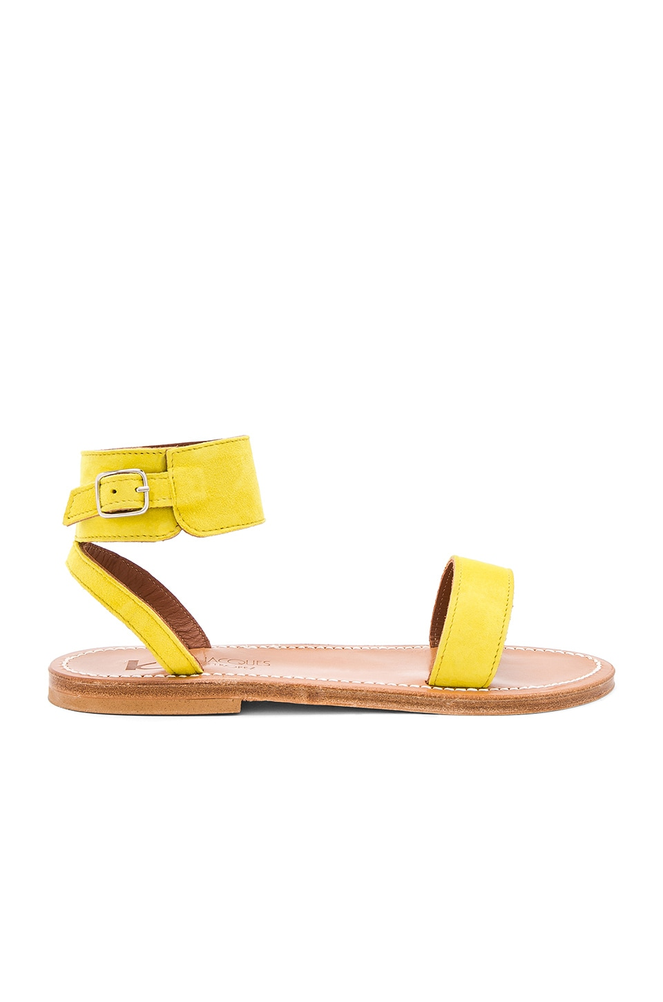 K Jacques Saratoga Sandal in Velours Amarillo
