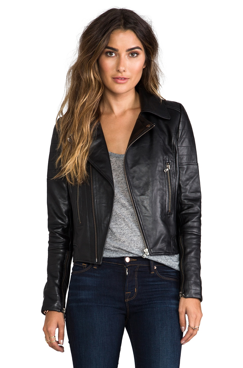 KENNA-T Bubble Lamb Zip Moto in Black