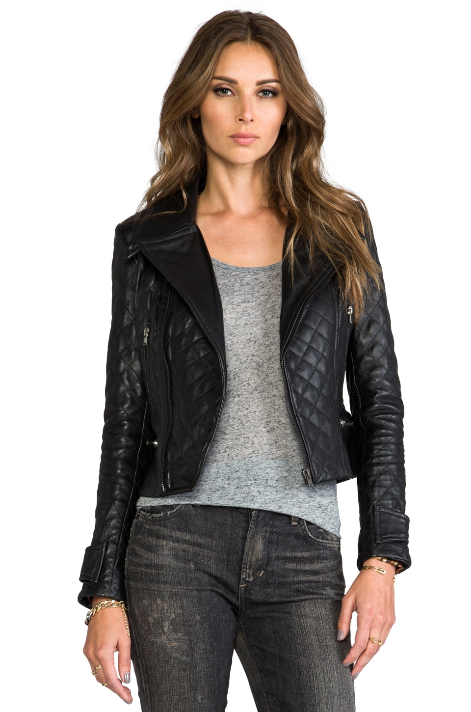 KENNA-T Quilt Moto Jacket in Black
