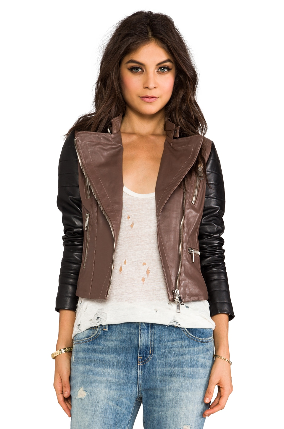 KENNA-T Two Tone Moto in Brown/Black