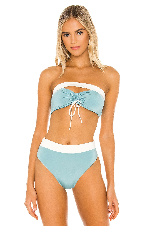 KYA Ella Reversible Bikini Top in Teal & Crystal