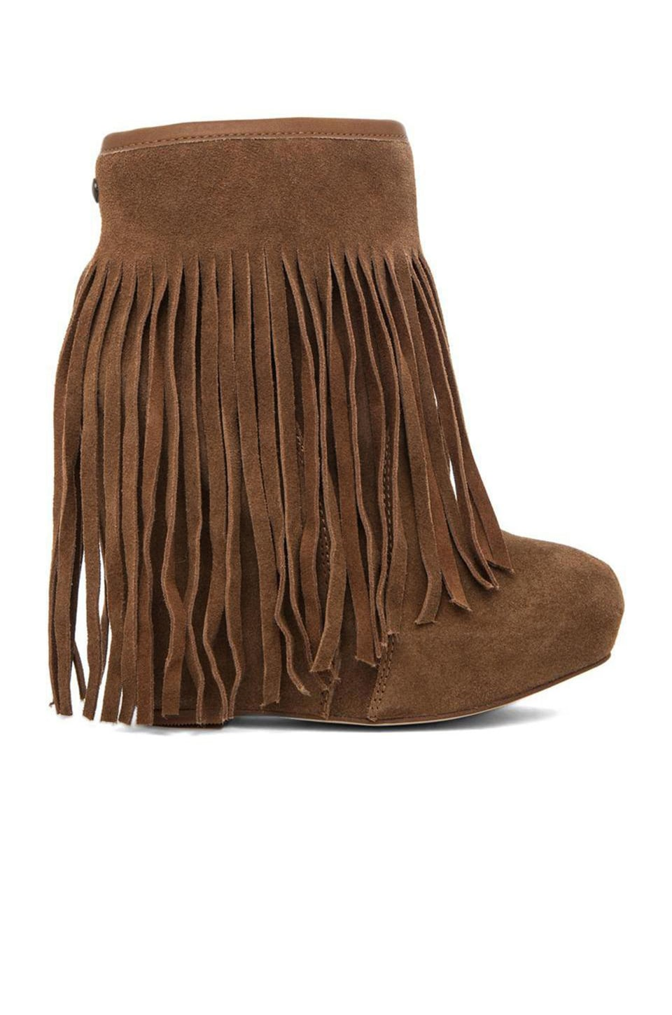 0fd3bb10579 Koolaburra Veleta Fringe Wedge Boot in Chestnut from Revolve.com