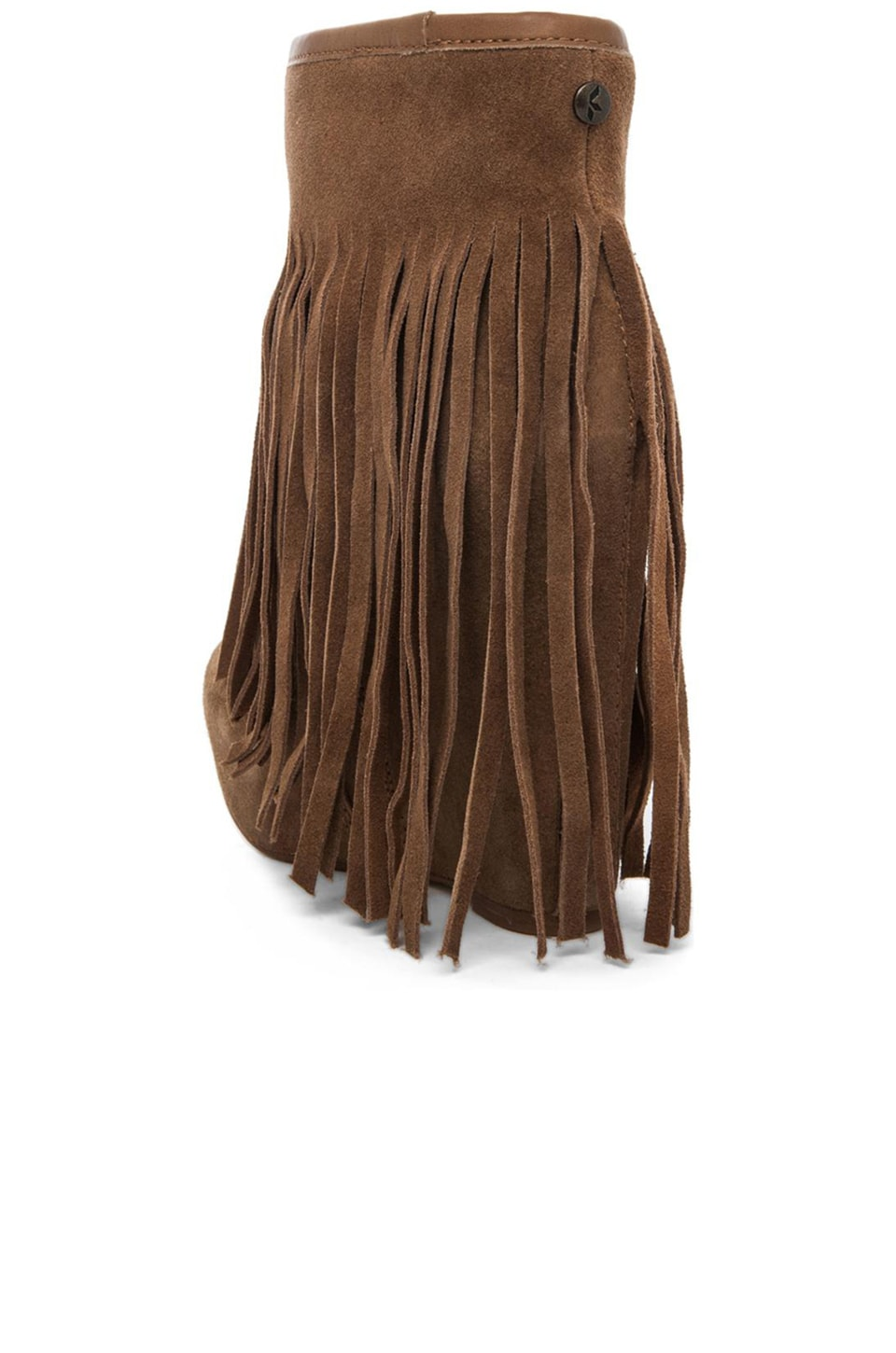 Koolaburra Veleta Fringe Wedge Boot in Chestnut