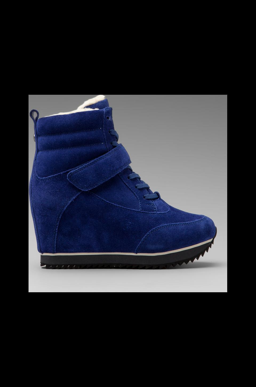Koolaburra Snow Jog Wedge Sneaker with Sheep Wool in Sapphire