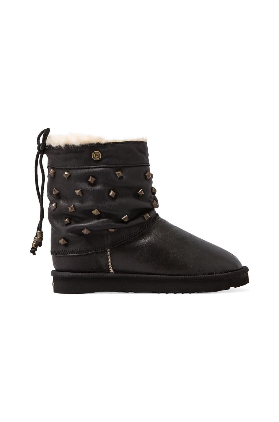 Koolaburra Alesta Studs Boot with Wool and Twinface Sheepskin in Black Distressed/Distressed Studs