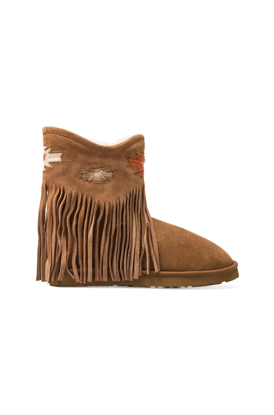 Koolaburra Haley Ankle Deco Boot with Twinface Sheepskin in Chestnut